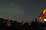 cabin faint aurora and meteor